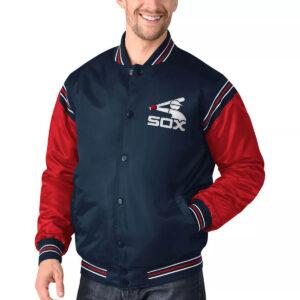 Chicago White Sox Navy&Red Varsity Satin Jacket
