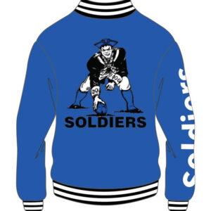 Custom White and Blue Soldier Varsity Jacket