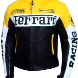 Ferrari Black And Yellow Motorcycle Leather Jacket