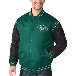 Green&Black New York Jets Satin Varsity Jacket