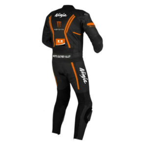 Kawasaki Black and Orange Motorcycle Leather Suit