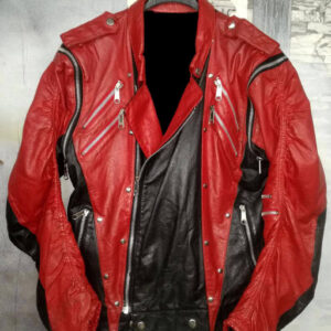 Michael Jackson Red Black Leather Studded Jacket