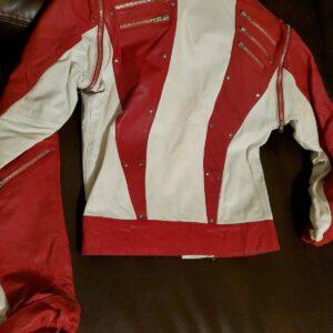 Michael Jackson Red White Leather Studded Jacket