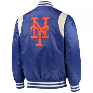 New York Mets Royal and Cream Varsity Satin Jacket