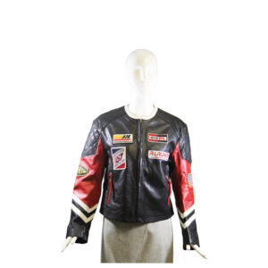 Polo Ralph Lauren Red Black Patchwork Leather Jacket