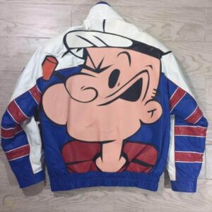 Popeye The Sailor Man Blue and White Leather Jacket