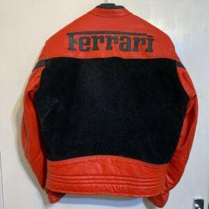 Vintage 80's Ferrari Red And Black Biker Leather Jacket