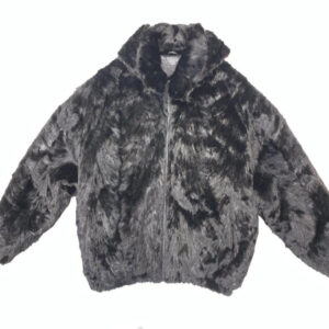 Black Hooded Mink Bomber Jacket