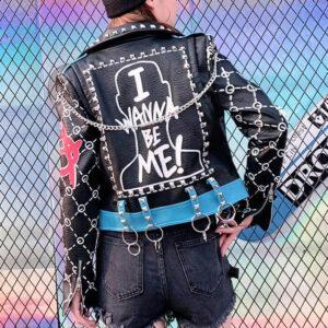Black Punk Rock Fashion Studded Leather Jacket