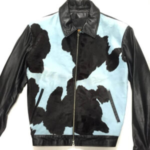 Blue and Black Cowhide Genuine Suede Leather Jacket