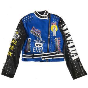 Blue and Black Punk Rock Studded Leather Jacket