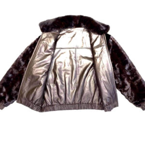 Chocolate Brown Reversible Leather Mink Jacket