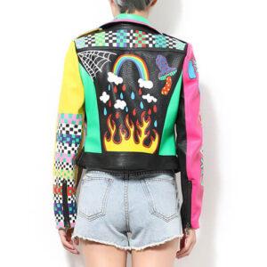 Colorful Rainbow Print Fashion Leather Jacket