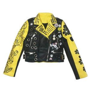 Graffiti Yellow and Black Rivet Studded Leather Jacket