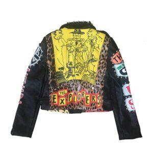 Multi-Color Punk Rock Cropped Studded Leather Jacket