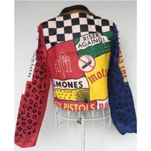Multi-Color Punk Rock Fashion Studded Leather Jacket
