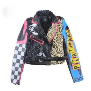 Multi-Color Punk Rock Studded Leather Jacket