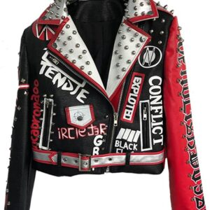 Red and Black Punk Rock Studded Leather Jacket