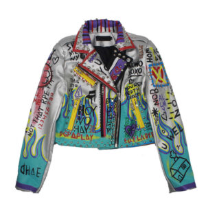 Silver Punk Rock Studded Leather Jacket