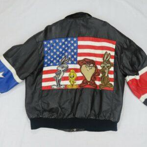 Vintage Looney Tunes USA Flag Leather Jacket