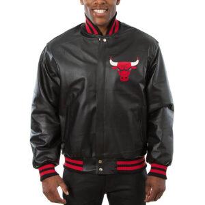 Black Chicago Bulls Leather Jacket