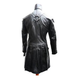Black Goth Steampunk Gothic Leather Coat