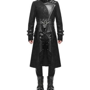 Black Goth Steampunk Trench Coat