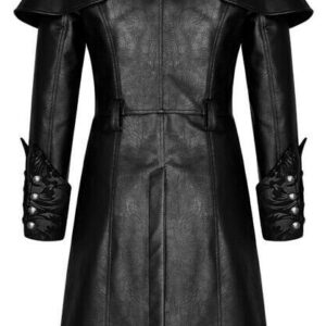 Black Steampunk Punk Rave Embroidered Leather Coat