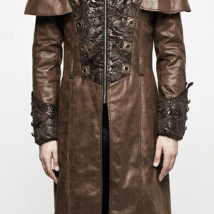 Brown Steampunk Punk Rave Embroidered Leather Coat