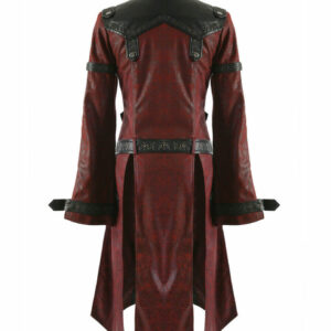 Red Shadow Punk Rave Goth Steampunk Leather Coat