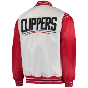 White and Red LA Clippers Renegade Satin Jacket