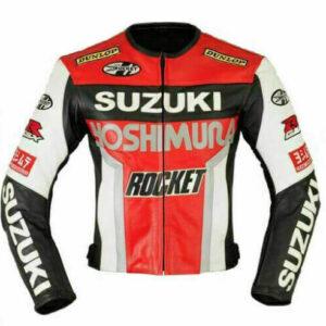 Suzuki GSXR Orange White Motorcycle Racing Jacket