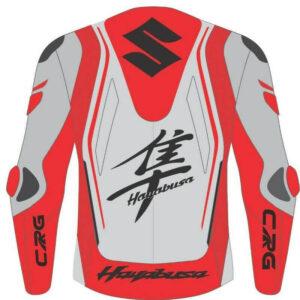 Suzuki Hayabusa Red White Motorcycle Jacket