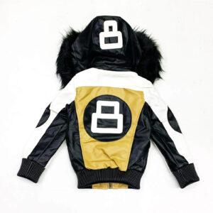 8 Ball Khaki White Robert Phillipe Jacket with Fur Hood
