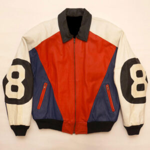 8 Ball Red Blue Leather Jacket By Phase 2