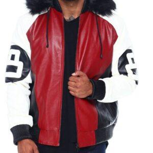 8 Ball Red White Robert Phillipe Jacket with Fur Hood