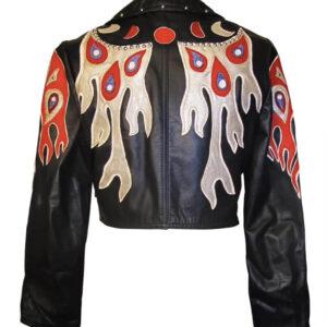 Black Flame Drip Short Studded Leather Jacket