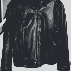 Black Harley Flaming Patch on Back Leather Jacket