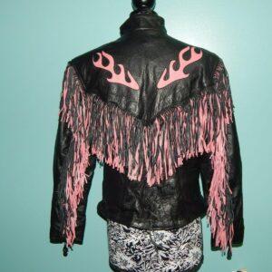 Black Inlay Fringe Pink Flame Leather Jacket