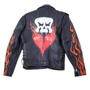 Black Vintage Flame Biker Skull Leather Jacket