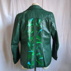 Green Hand Painted Foliage Floral Vintage Leather Jacket
