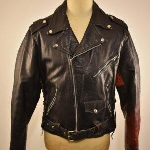 Hand Painted Vintage Punk Rock Black Leather Jacket