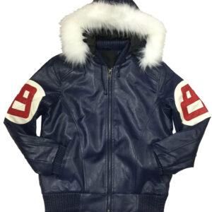 Navy 8 Ball Robert Phillipe Jacket with Fur Hood