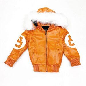 Orange 8 Ball Robert Phillipe Jacket with Fur Hood