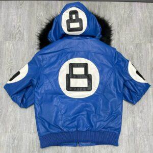 Royal Blue 8 Ball Robert Phillipe Jacket with Fur Hood