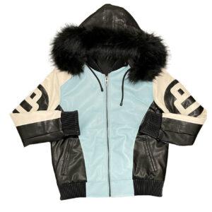Sky Blue White 8 Ball Robert Phillipe Jacket with Fur Hood