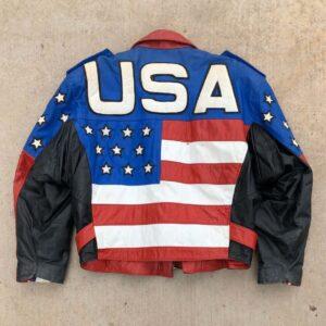 Vintage 90s USA Flag Freedom Biker Leather Jacket
