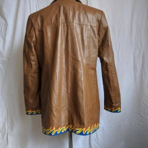 Vintage Brown Flame Hand Painted Leather Jacket