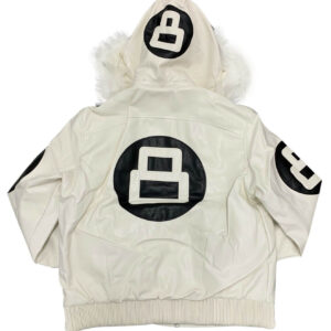 White 8 Ball Robert Phillipe Jacket with Fur Hood