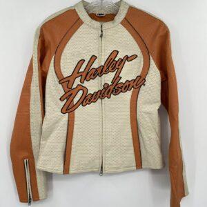 Harley Davidson Cream Orange Leather Riding Jacket